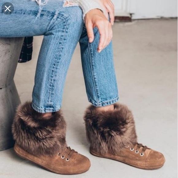 Ugg Antoine Fur Cuff Sneaker Slate Gray